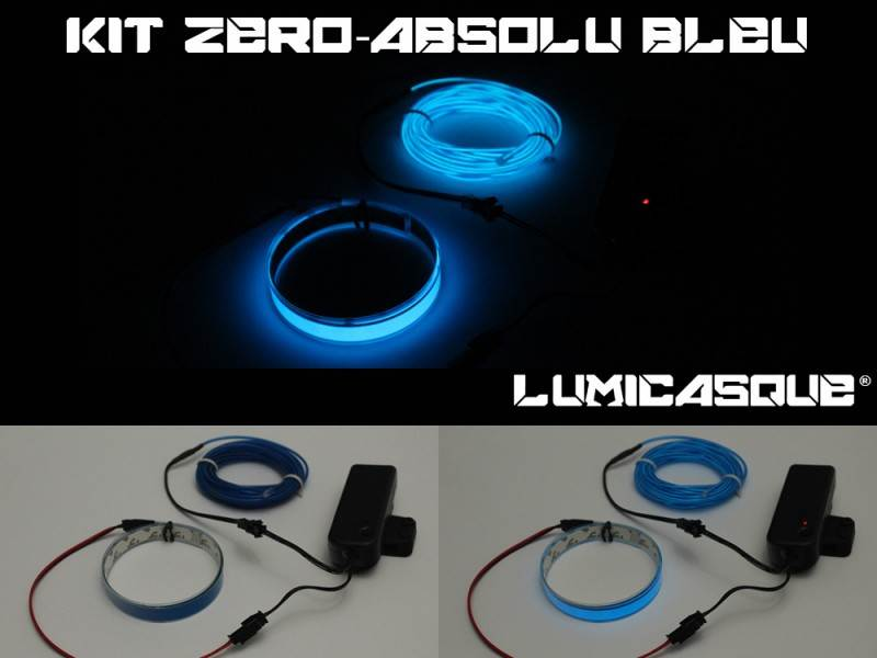 Kit LumiCasque Zéro-Absolu - Fil lumineux de 3m + Bande de 50cm